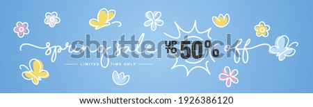 Up to 50% off Spring Sale handwritten typography. Spring blue background with sun, butterfly and spring colorful flowers Royalty-Free Stock Photo #1926386120