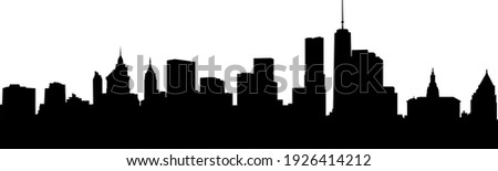 New York City skyscrapers. Skyline silhouette isolated on white background Royalty-Free Stock Photo #1926414212