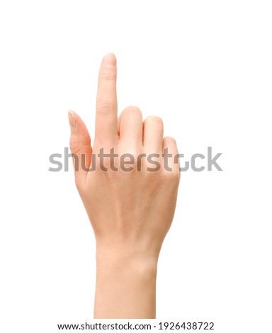 female hand pointing upwards on isolated white background Royalty-Free Stock Photo #1926438722