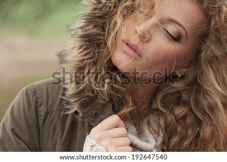 magnificent close-up outdoors Portrait of beautiful young woman #192647540