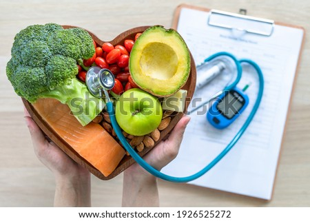 Ketogenic diet with keto food for healthy nutrition eating lifestyle for good heart health with high protein, fat, low-carb to prevent heart disease and diabetes illness control Royalty-Free Stock Photo #1926525272