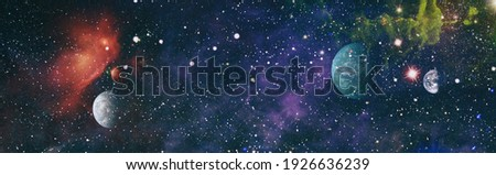 abstract background with night sky and stars. Panorama view universe space shot of milky way galaxy with stars on a night sky background. Elements of this Image Furnished by NASA