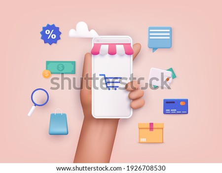 Hand holding mobile smart phone with shopp app. Online shopping concept. 3D Web Vector Illustrations. Royalty-Free Stock Photo #1926708530