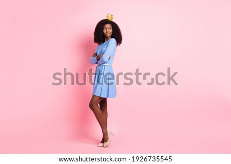 Photo of envy princess crossed hands look empty space wear crown short dress high-heels isolated pink color background Royalty-Free Stock Photo #1926735545