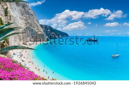 Landscape with Porto Katsiki beach on the Ionian sea, Lefkada island, Greece Royalty-Free Stock Photo #1926845042