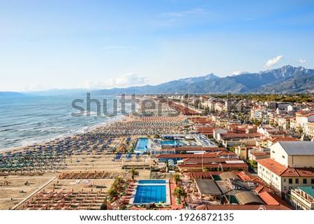 Viareggio drone panoramic view of coastline, Versilia, Tuscany,Italy. Royalty-Free Stock Photo #1926872135