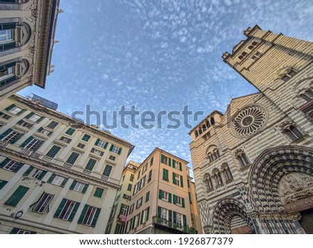 san lorenzo place view genoa italy 360 degrees  Royalty-Free Stock Photo #1926877379