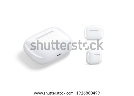 Blank white small headphones case mockup, different views, 3d rendering. Empty audio portable accessory box mock up, isolated. Clear pro headpiece casing for wireless music template.