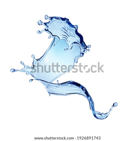 3d render, dynamic blue water splash, wavy liquid jet clip art isolated on white background. Twisted shape, splashing wave
