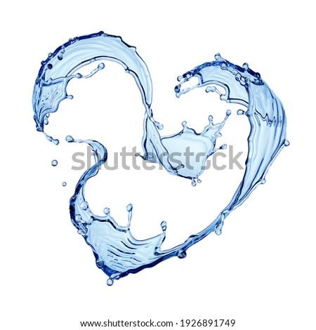 3d render. Heart shape water splash. Splashing blue liquid clip art isolated on white background