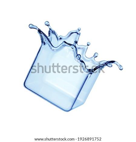 3d render, water splash clip art. Blue liquid cube. Splashing element isolated on white background