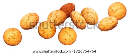 Chip cookies falling over white background, flying biscuits Royalty-Free Stock Photo #1926954764