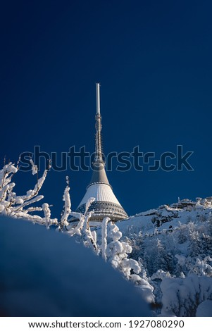 Transmitter and snowy Czech landscape Royalty-Free Stock Photo #1927080290