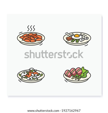 Korean food color icons. Set of traditional korean dishes .Eastern meal, meat, vegetables and sauces. Asian food and korean cuisine concept. Isolated vector illustrations Royalty-Free Stock Photo #1927162967