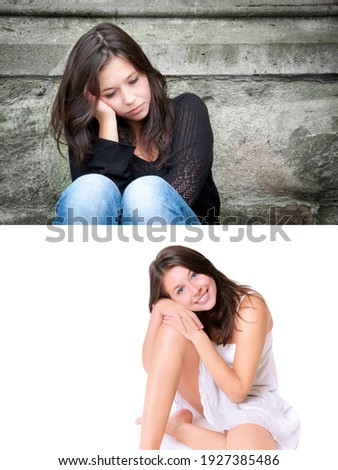 Two portraits of a beautiful young woman, emotion concept, upper photo: sad and depressed in front of a gray wall, lower photo: positive and happy in front of bright studio background
