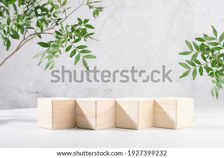 Presentation and display product - wooden cube podiums in row with green branch of tree in sunlight on white wood board and grey marble wall. Royalty-Free Stock Photo #1927399232