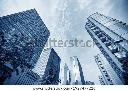 High-rise buildings in the financial district of the city, Shaoxing, China. Royalty-Free Stock Photo #1927477226