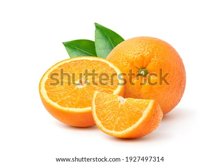 Orange  with cut in half and green leaves isolated on white background.  Royalty-Free Stock Photo #1927497314