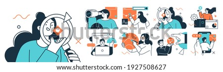 Business Concept illustrations. Collection of scenes with men and women taking part in business activities. Trendy vector style. Royalty-Free Stock Photo #1927508627