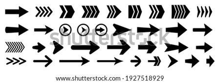 Set of new style black vector arrows isolated on white. Arrow vector icon. Arrows vector illustration collection Royalty-Free Stock Photo #1927518929