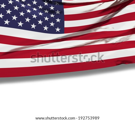 Flag of the United States of America with empty white space for your advertising text. Celebration background. American patriotic national symbol. 3d render illustrated image. #192753989