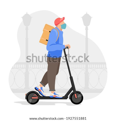 Delivery man riding an electric scooter. Courier on scooter delivering food vector illustration. Royalty-Free Stock Photo #1927551881