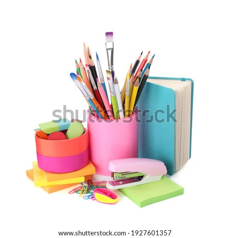 Set of colorful school stationery on white background Royalty-Free Stock Photo #1927601357