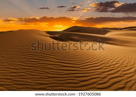 Sunset over the sand dunes in the desert. Arid landscape of the Sahara desert Royalty-Free Stock Photo #1927605086