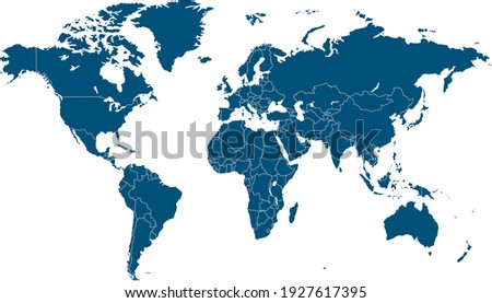 World map color vector modern. Silhouette map. Royalty-Free Stock Photo #1927617395