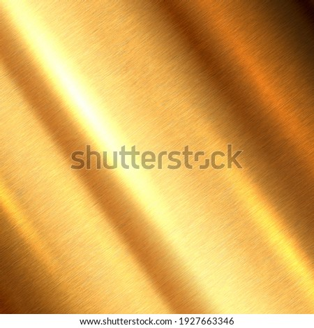Shiny brushed metallic gold background texture. Bright polished metal bronze brass plate. Sheet metal glossy shiny gold Royalty-Free Stock Photo #1927663346