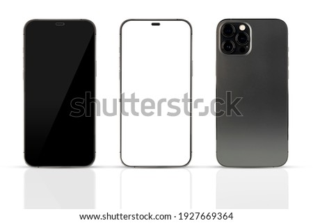 Smartphone mockup. Phone with Black, White Screen and backside. Cell Phone with different Screens. Template mockup smartphone in realistic design with clipping paths.3D illustration
