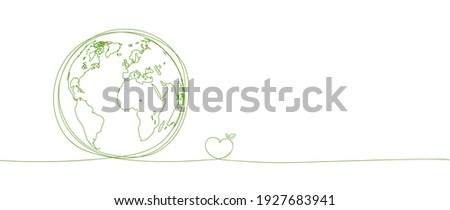 Sustainability development background banner with hand drawn, Save the world, Environmental and Ecology concept, Vector illustration Royalty-Free Stock Photo #1927683941