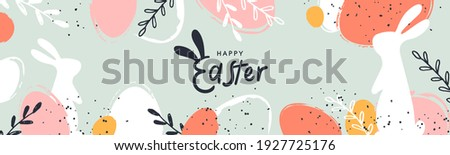 Happy Easter banner. Trendy Easter design with typography, hand painted strokes and dots, eggs and bunny in pastel colors. Modern minimal style. Horizontal poster, greeting card, header for website Royalty-Free Stock Photo #1927725176