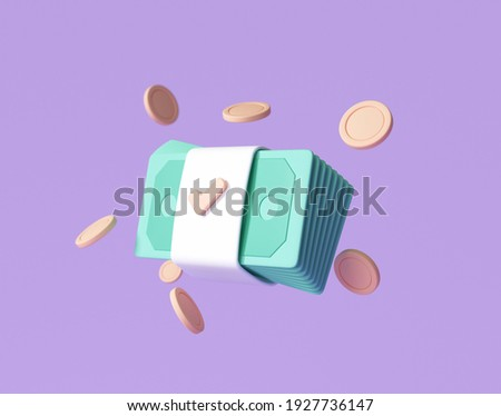 Bundles cash and floating coins around on purple background. money-saving, cashless society concept. 3d render illustration