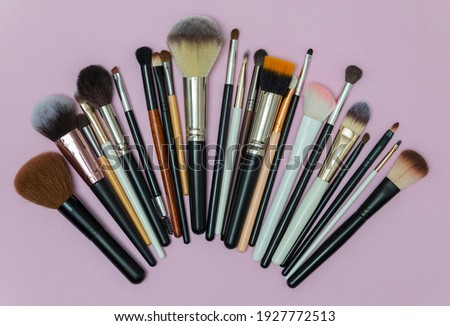Make up the essentials. A set of professional makeup brushes on pink background. Perfect for a beauty blog. Brushes of different sizes and shapes. Flatly, horizontal.