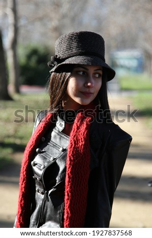 Middle Eastern girl in a park Royalty-Free Stock Photo #1927837568