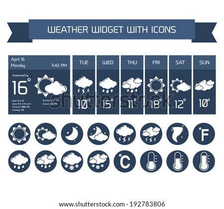 Weather detailed forecast computer and mobile business widgets with vertical dark icons collection on white isolated  illustration #192783806