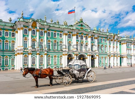 Horse carriage on Palace square and Hermitage museum at background, St. Petersburg, Russia Royalty-Free Stock Photo #1927869095