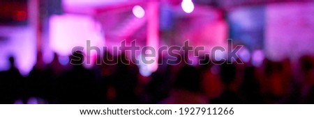 Blur night banner. DJ concert party. Dance silliuette. Musician shadow theater. Pink and pruple. Christianity show concept. Live stage church. Event lights. Fun festive group. Horizontal banner