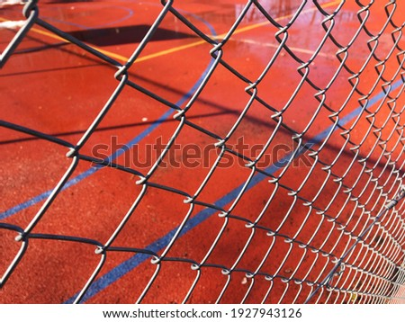 Basketball court in the off-season in winter