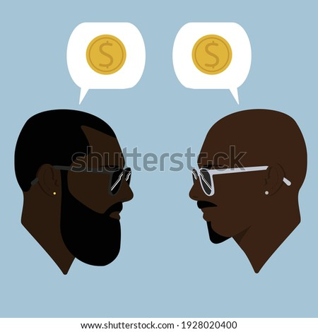 Silhouettes. Dialogue of two black men. Guys. Talk about money. Two guys are talking. Conversation. Guys in sunglasses. Bearded men. Guy with earring Royalty-Free Stock Photo #1928020400