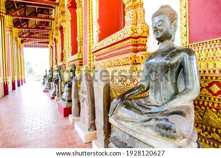 buddha statue in thai temple in thailand, digital photo picture as a background , taken in Sisaket temple laos, asia , taken in Sisaket temple , luang prabang, laos, asia