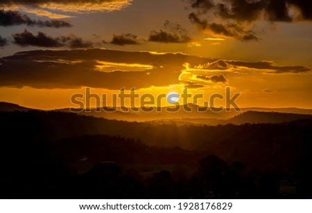 Mountain field sun set landscape Royalty-Free Stock Photo #1928176829