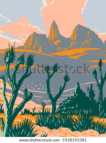 Castle Mountains National Monument located in the Mojave Desert and San Bernardino County California WPA Poster Art Royalty-Free Stock Photo #1928195381