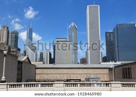 Chicago skyline stock photo. Downtown Chicago office buildings. Royalty-Free Stock Photo #1928460980