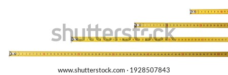 Set with measuring tapes on white background, banner design Royalty-Free Stock Photo #1928507843