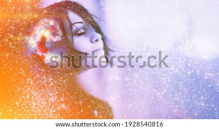 Human face on blue light star in cosmos space. Woman inner energy, self heal soul, brain power think, mind body, dream idea in head, big data ai learn concept. Elements of this image furnished by NASA Royalty-Free Stock Photo #1928540816
