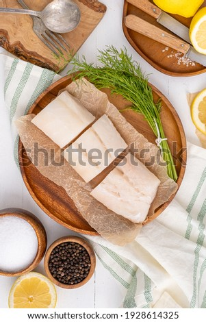 Halibut steaks. Fresh seafood fish sustainably caught. Halibut for dinner.