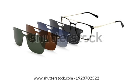 eyewear polarized clip on sunglasses with colored magnetic lenses isolated on white background Royalty-Free Stock Photo #1928702522