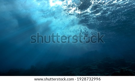 Artistic Underwater photo of waves. From a scuba dive in the canary island in the Atlantic Ocean. Spain